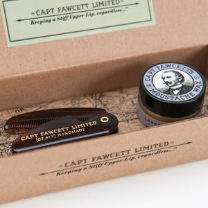 Captain Fawcett Moustache Wax/Comb Sandalwood Gift Set