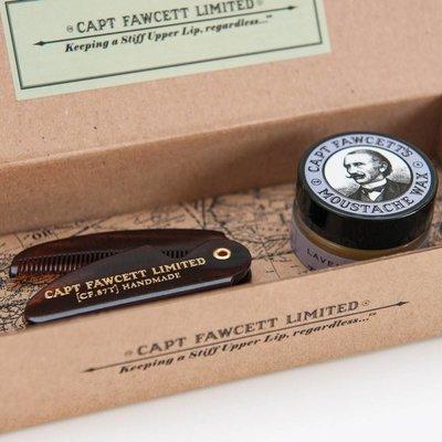 Captain Fawcett Moustache Wax/Comb Sandalwood Gift Set