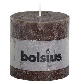 Bolsius Bolsius stompkaars rustiek 100 x 100 mm chocolade bruin