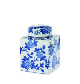 Riverdale Dekselpot Floral blauw 22cm