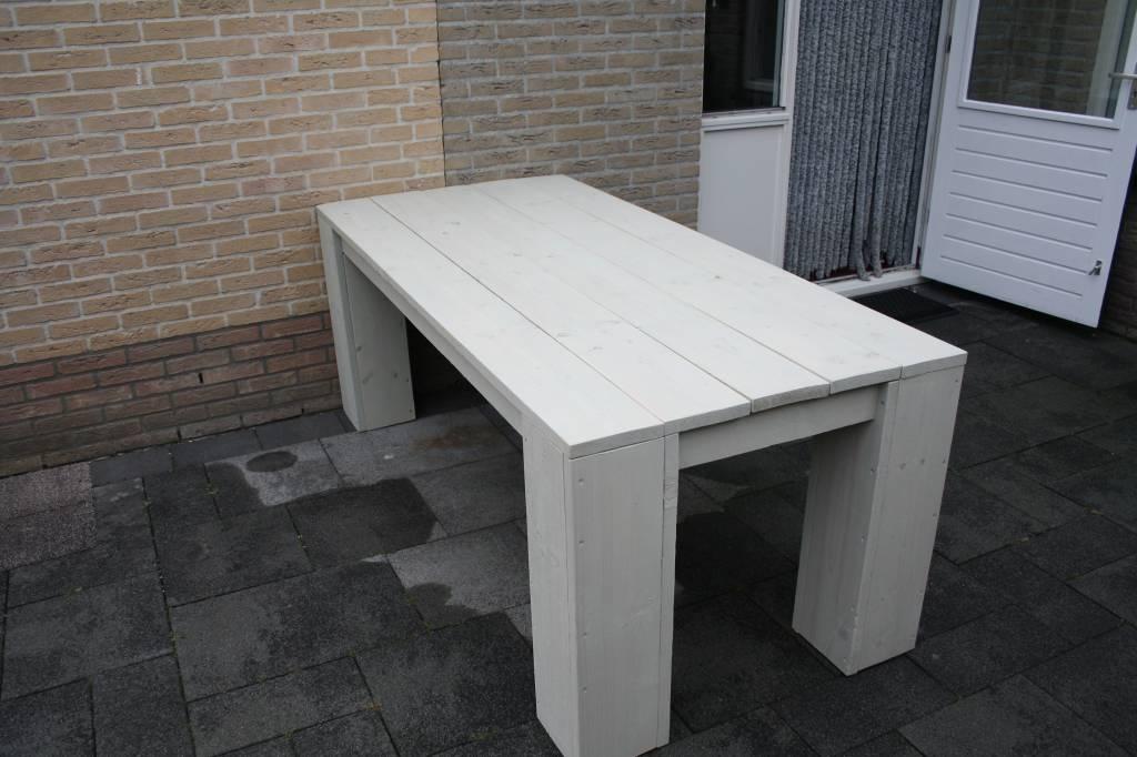 Steigerhout tafel met kruispoot onderstel