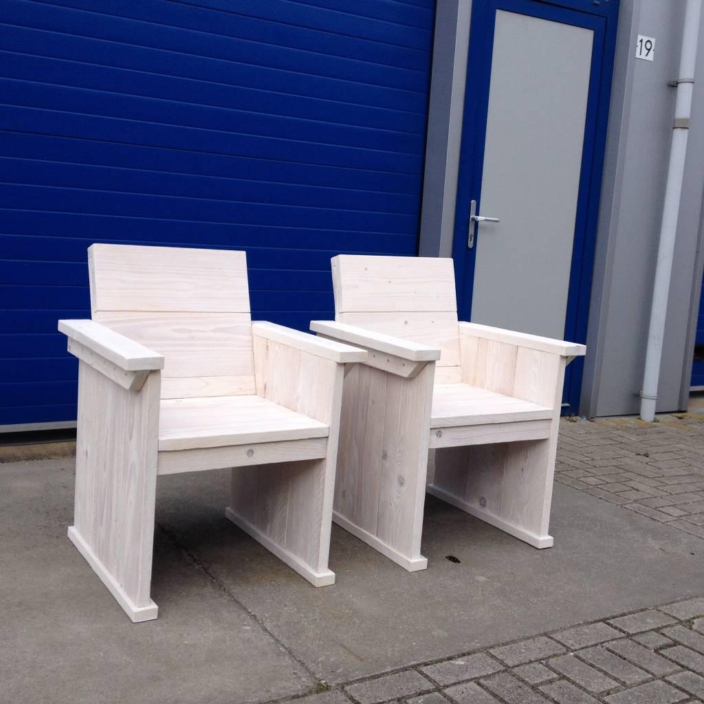 stoel van steigerhout in white wash maatwerk steigerhout