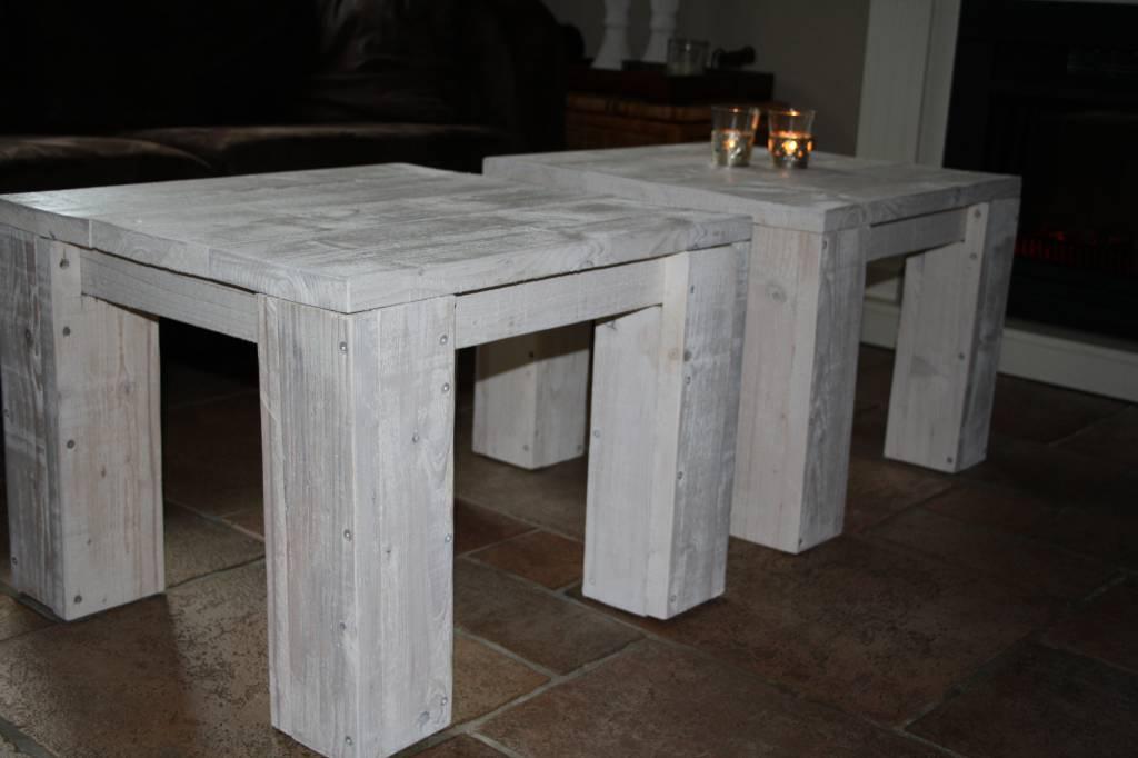 Steigerhout white wash. elegant windlicht van steigerhout greywash
