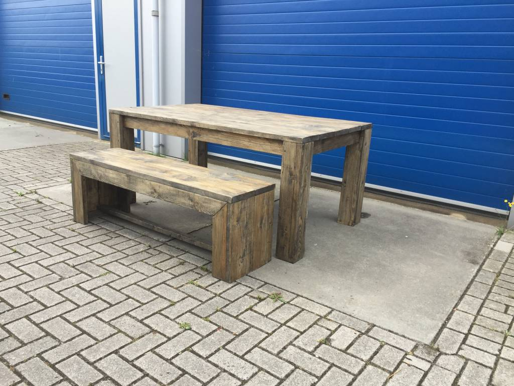 Eettafel Set Van Steigerhout In Black Wash
