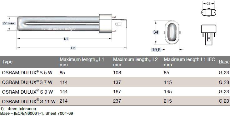 osram dulux s 9w 830 lamp belgie. Black Bedroom Furniture Sets. Home Design Ideas
