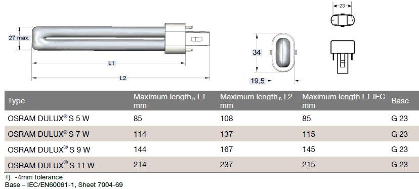 osram dulux s 11w 840 lamp belgie. Black Bedroom Furniture Sets. Home Design Ideas