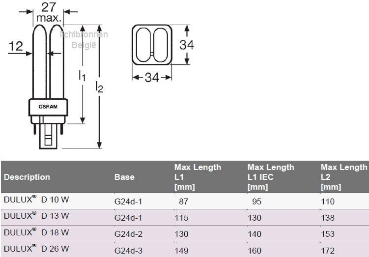 Osram Dulux D 26W / 840 G24d-3