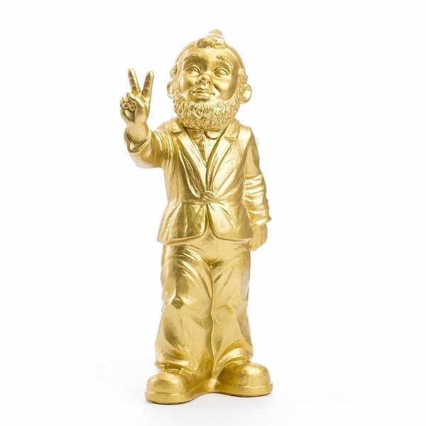 """""""Victory"""" Garden Gnome in Gold"""