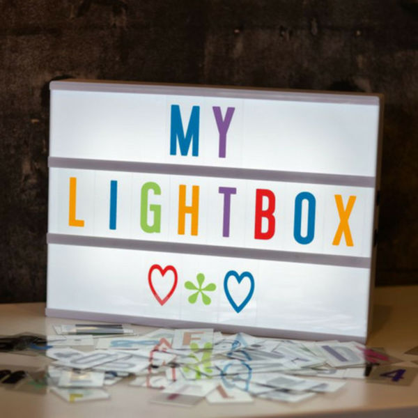LIGHTBOX A4 Letter Light Box in White with Colored Letters & Micro USB Input
