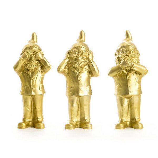 """""""Nichts Sehen, Hören und Sagen"""" Graten Zwerge in Gold"""