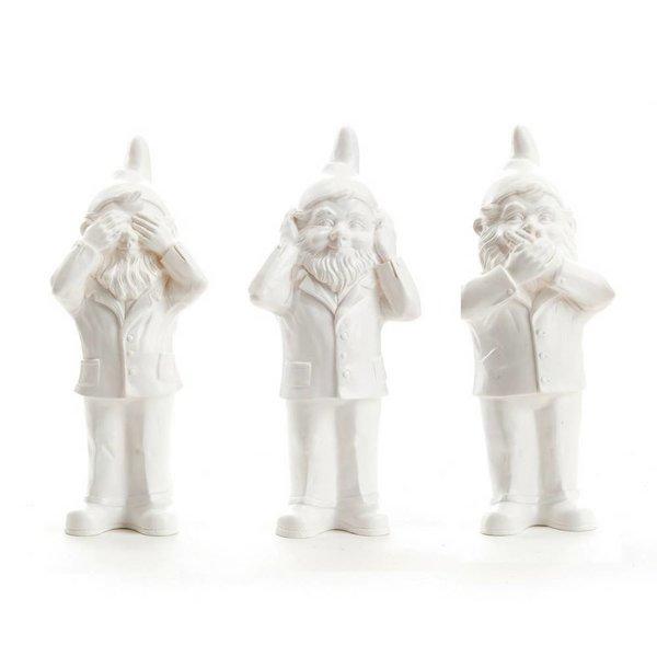 """Hear, See & Speak no Evil"" Gnomes in White"