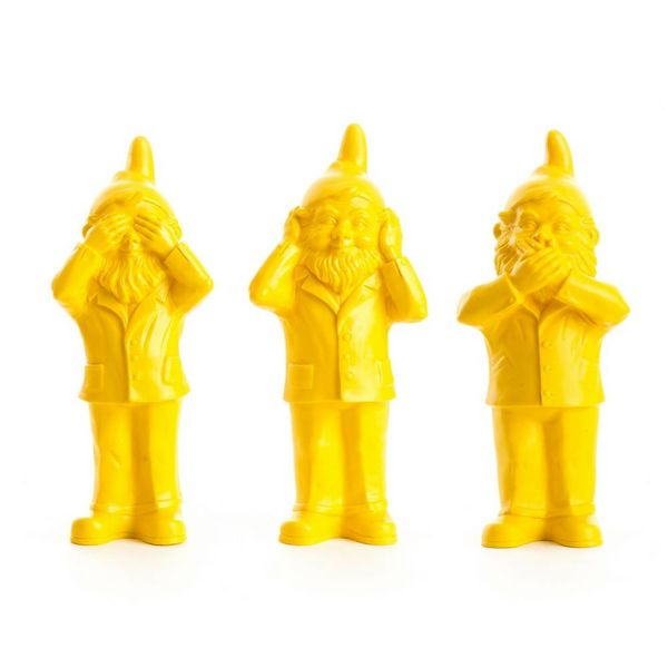 """""""Hear, See & Speak no Evil"""" Gnomes in Yellow"""