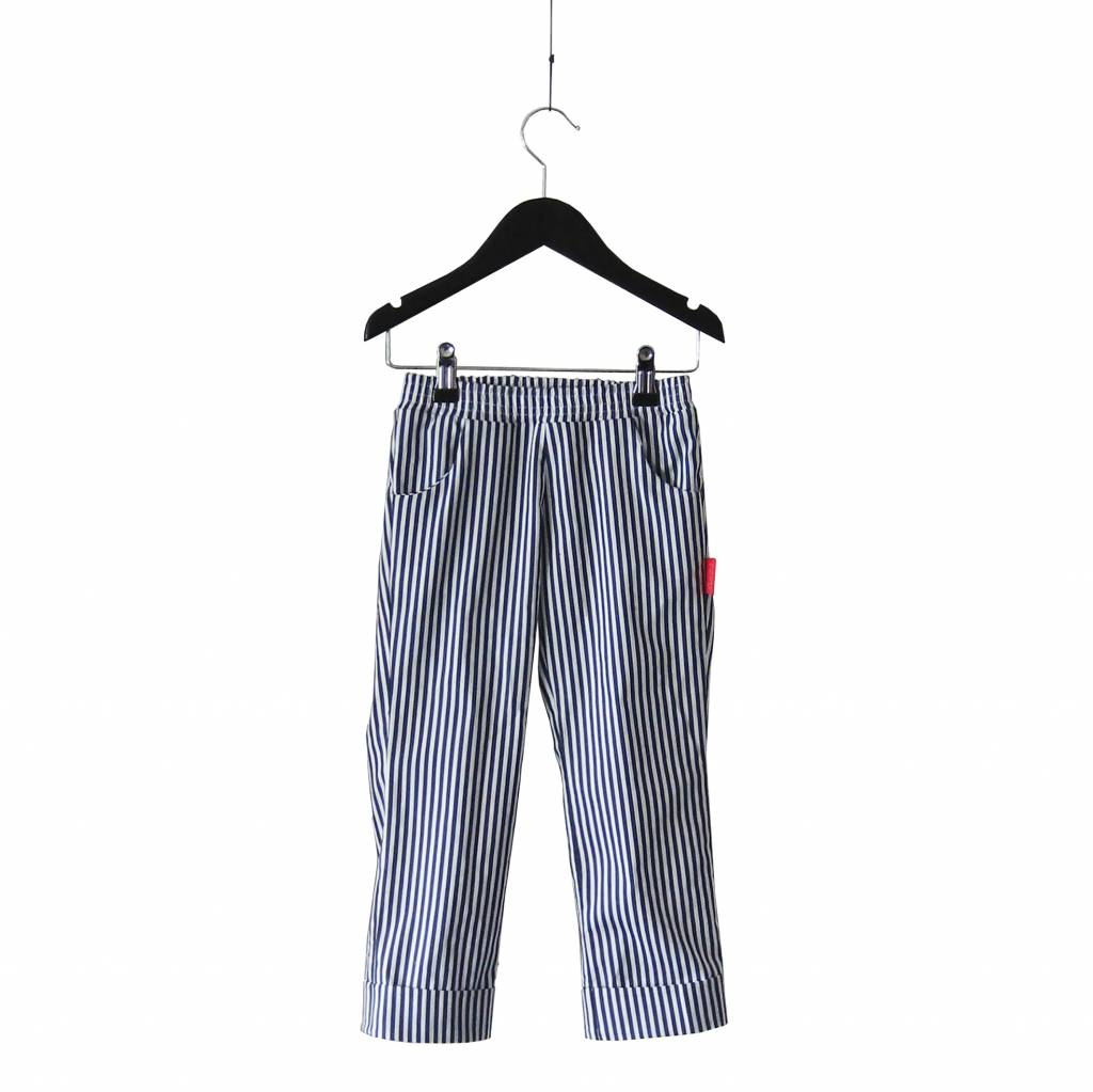 Striped trousers with stitched cuffs
