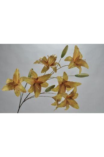 Silk-ka Lily branch green / yellow 132 cm