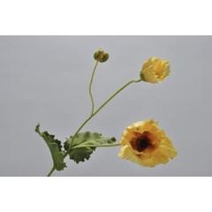 Silk-ka Poppy stem with leaf yellow / green