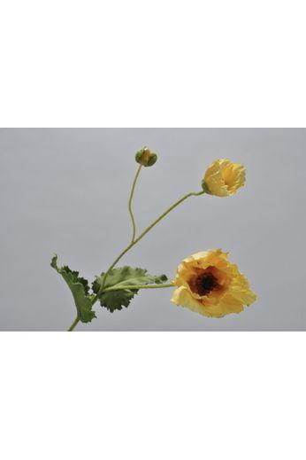 Silk-ka Poppy stem with leaf yellow / green 76 cm