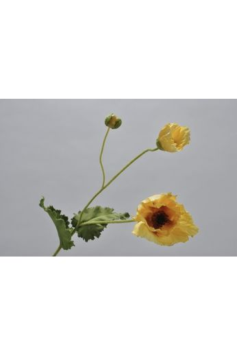 Silk-ka Poppy stem with leaf yellow / green