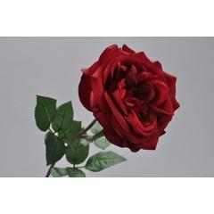 Silk-ka Roos met blad rood