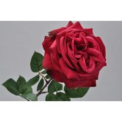 Silk-ka Roos met blad roze/rood