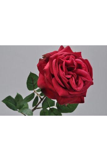 Silk-ka Roos met blad roze/rood 70 cm