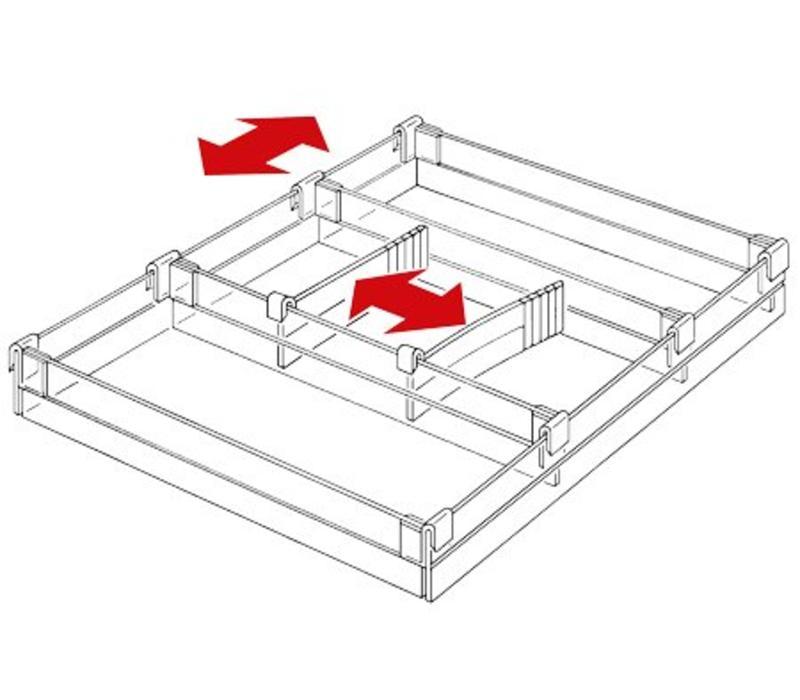 Lade indeling voor standaard lade 100mm hoog