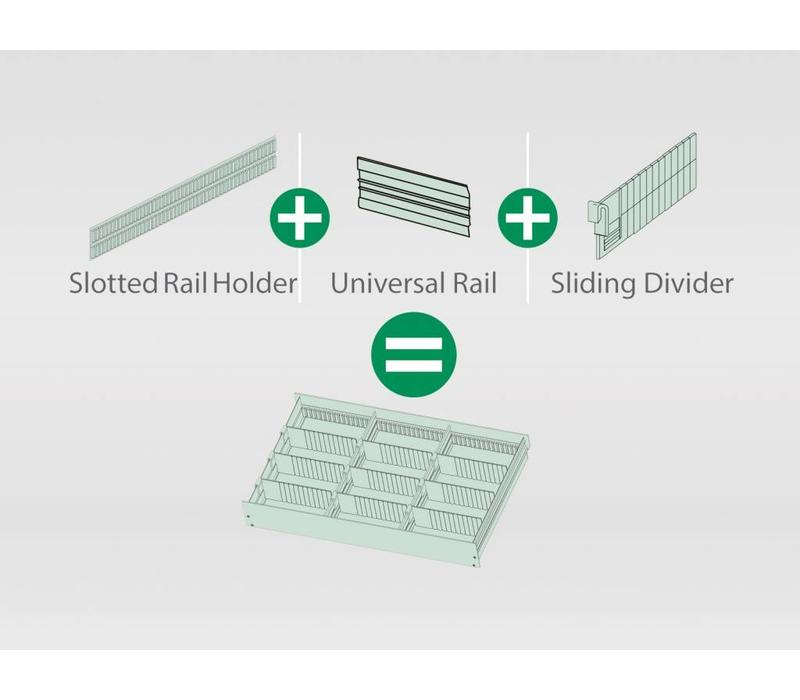 INSTALLATION WITH SLOTTED RAIL HOLDER