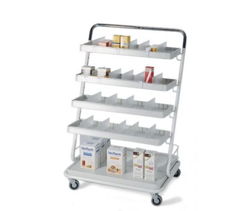 Medicijn verdeelwagen met 4 etages