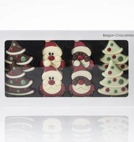 4 Santa Claus Figures & 4 Christmas Trees