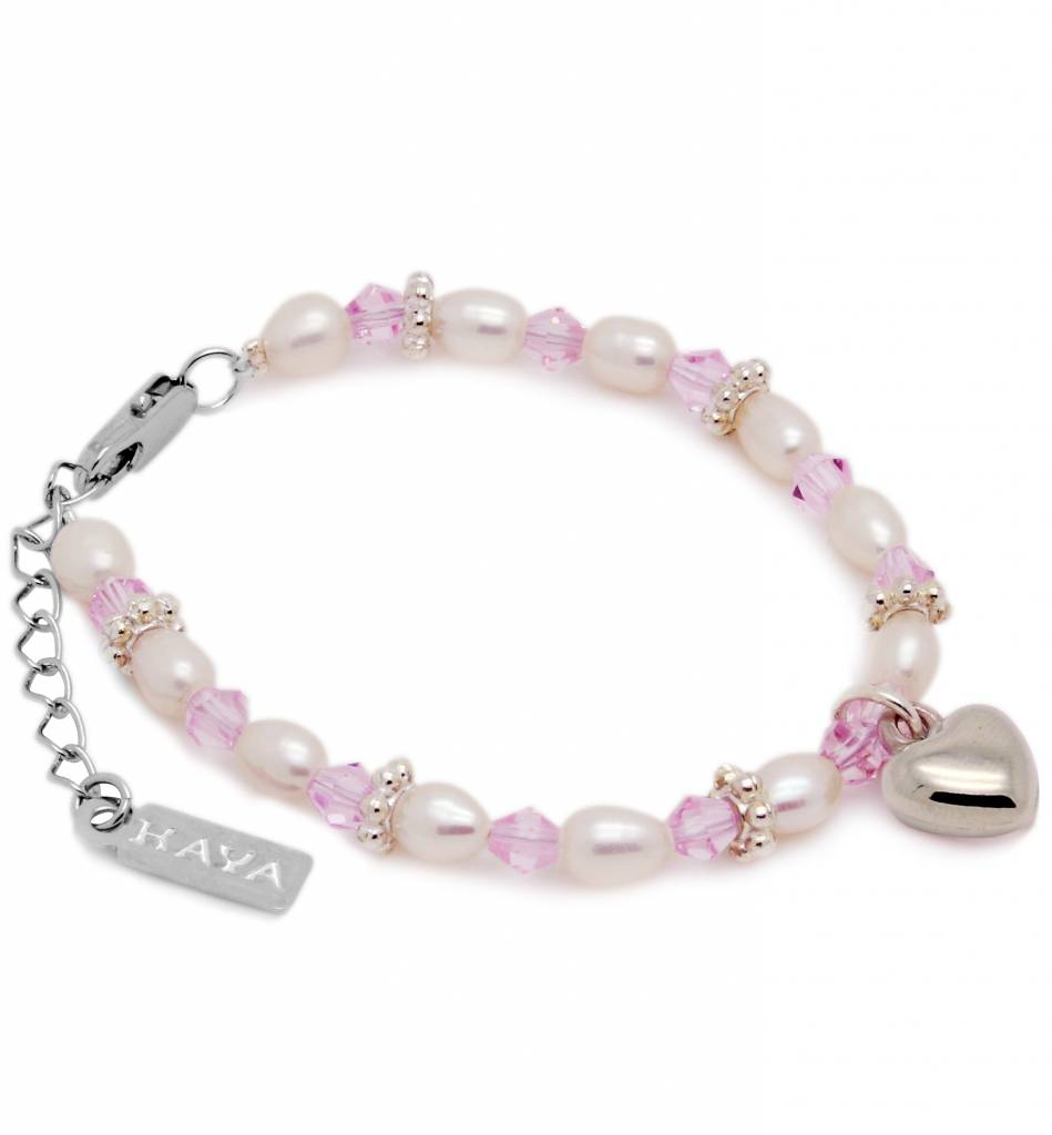 KAYA jewellery Beautiful Girls Bracelet 'Infinity Pink' with Heart Charm