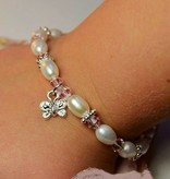 Infinity Girls Bracelet 'Infinity Pink' with Butterfly Charm
