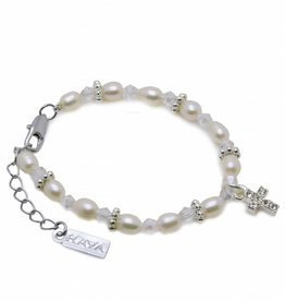Infinity Christening - Communion Bracelet 'Infinity White' with Cross