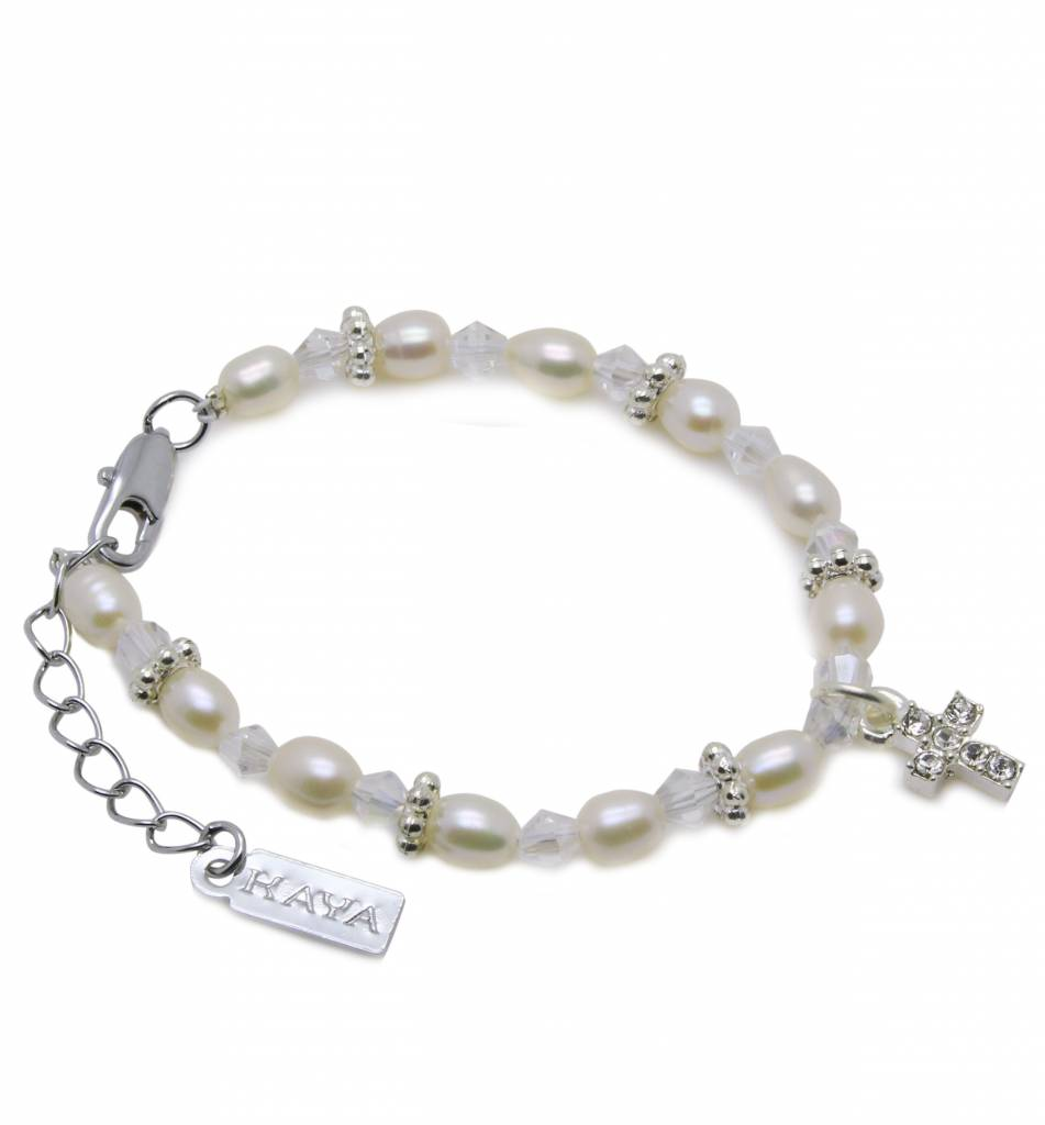 Infinity Boys & Girls Christening - Communion Bracelet 'Infinity White' with Small Cross Charm