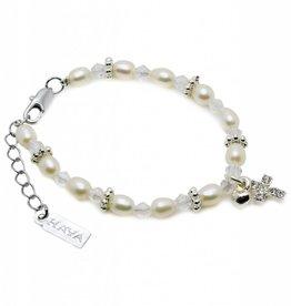 Infinity Christening Bracelet 'Infinity White' Cross & ♥