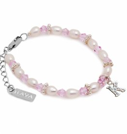 Infinity Girls Bracelet 'Infinity Pink' Silver Initial Charm