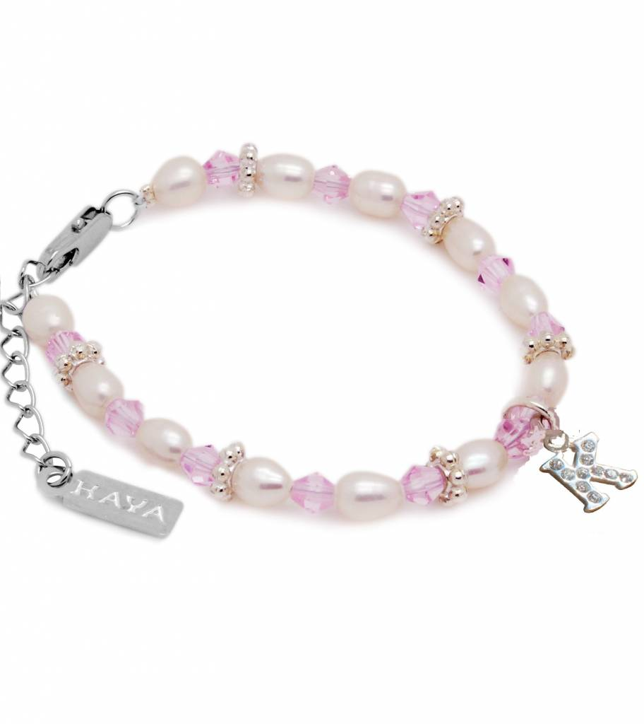 KAYA jewellery High Quality Girls Bracelet 'Infinity Pink' with Silver Initial Charm