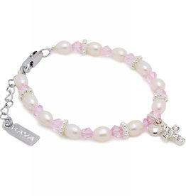 Infinity Christening - Communion Bracelet 'Infinity Pink' Cross & ♥