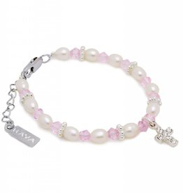 KAYA jewellery Christening - Communion Bracelet 'Infinity Pink' Small Cross