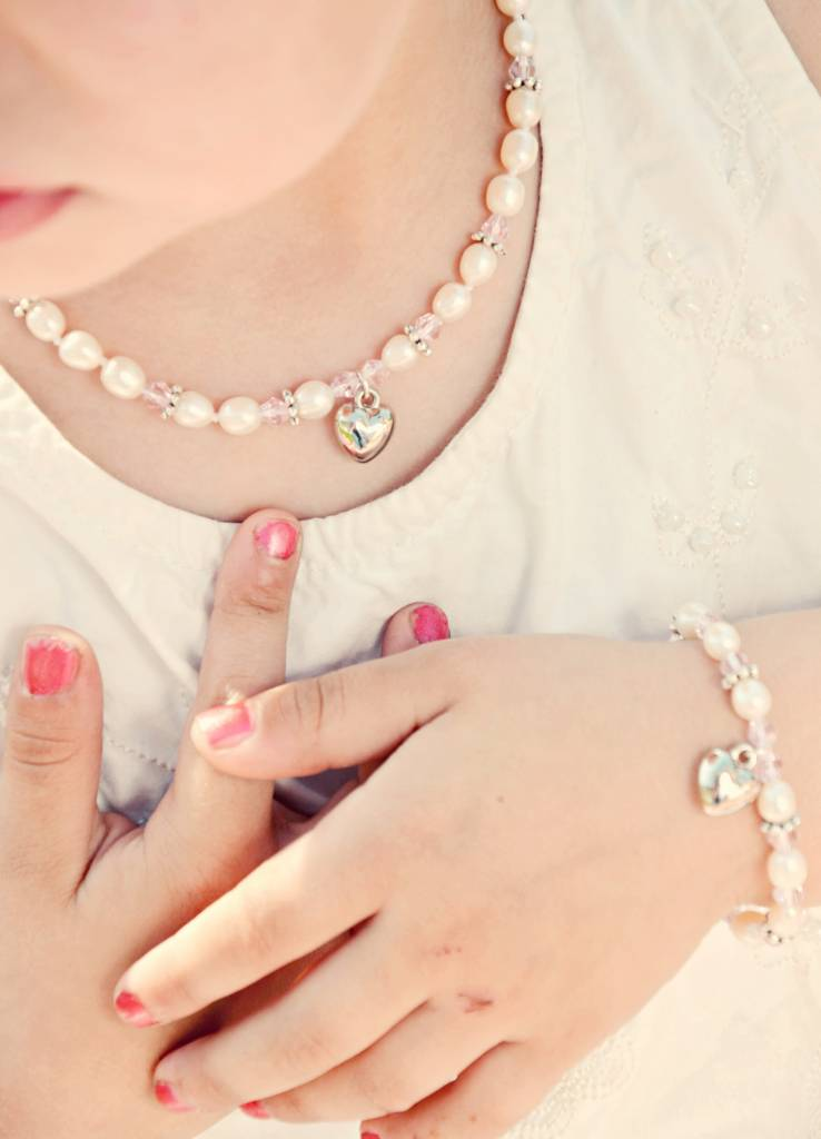 Infinity Necklace 'Infinity Pink' with Heart