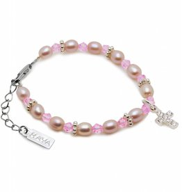 Princess Christening - Communion Bracelet 'Princess' with Small Cross
