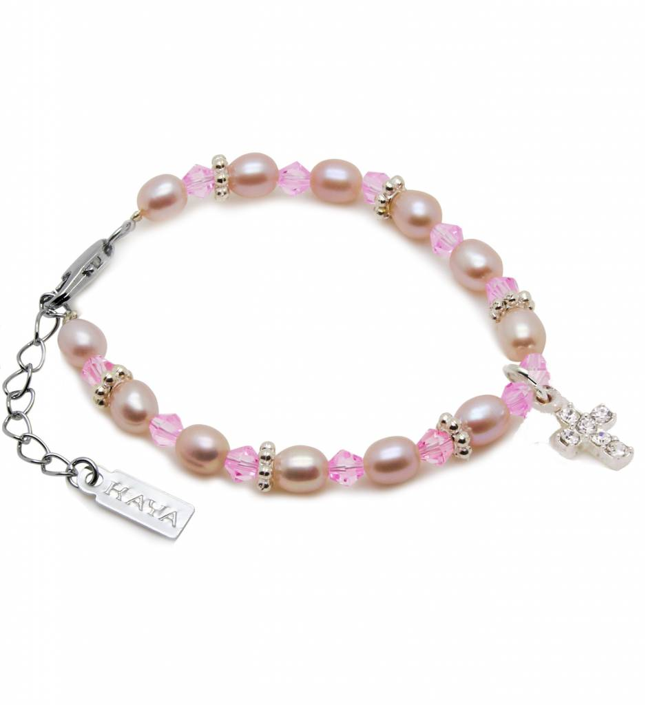 KAYA jewellery Beautiful Girls Christening - Communion Bracelet 'Princess' with Small Cross Charm