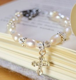 Infinity Christening - Communion Bracelet 'Infinity White' Cross