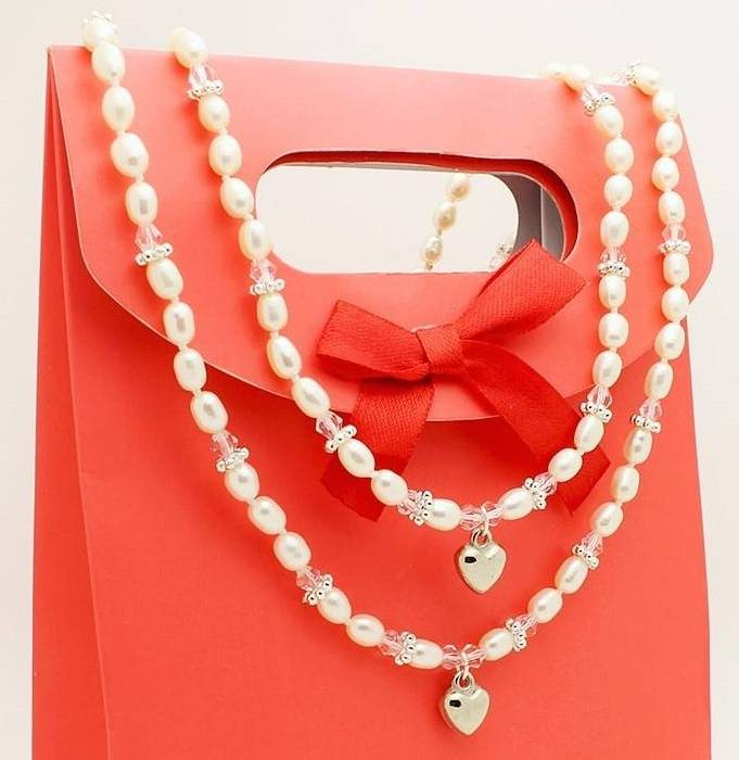 Infinity Mum & Me Pearl Necklace 'Infinity Pink' with Heart