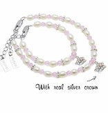 KAYA jewellery Beautiful Mum & Me Bracelet 'Infinity Pink' with Silver Crown Charm