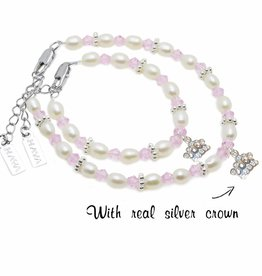 Infinity Mum & Me Bracelet 'Infinity Pink' with Silver Crown