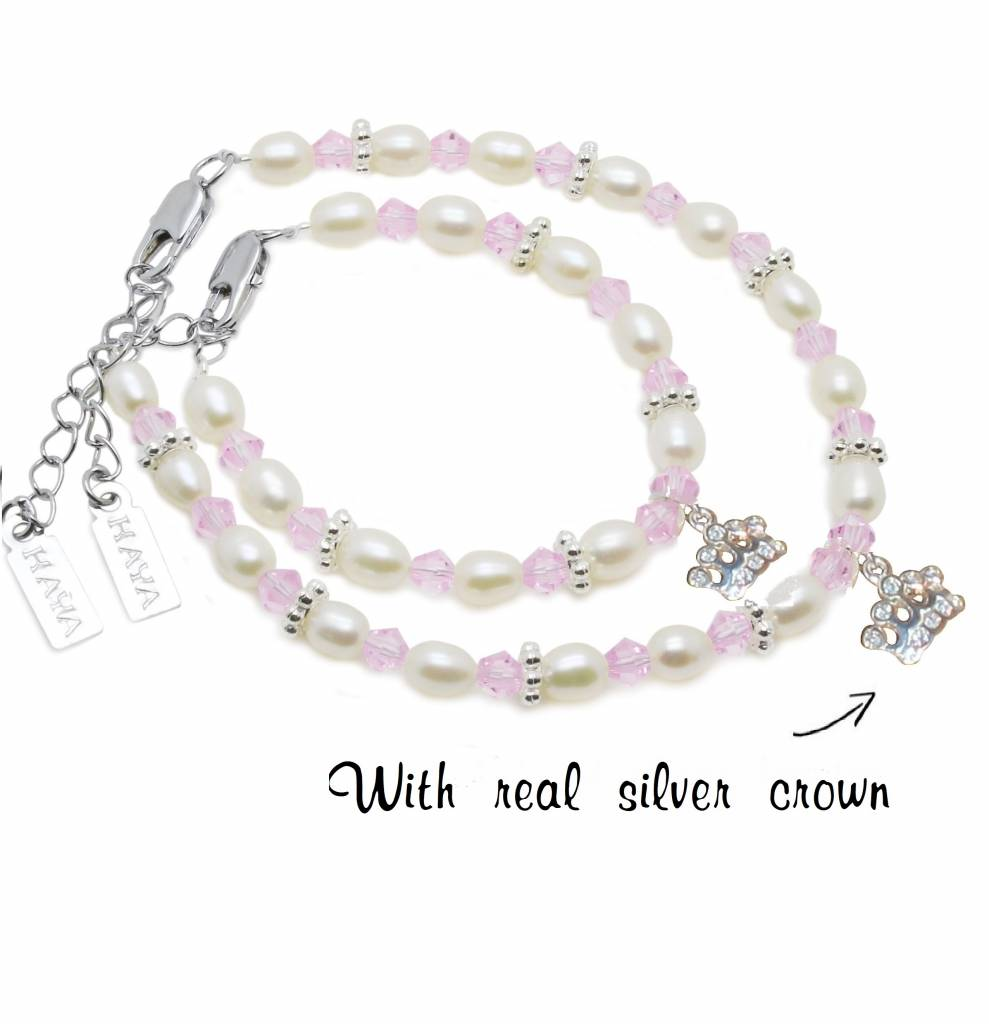Infinity Beautiful Mum & Me Bracelet 'Infinity Pink' with Silver Crown Charm