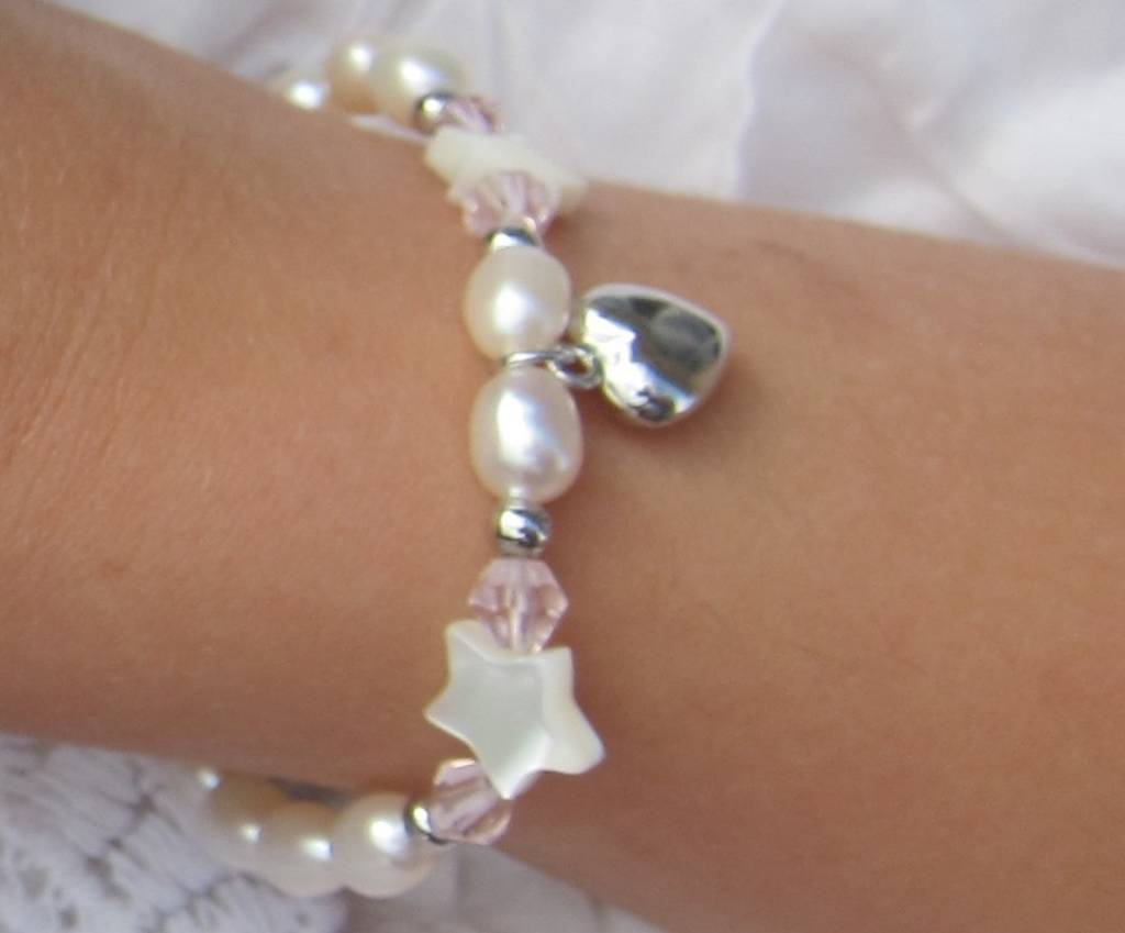KAYA jewellery Silver Girls Bracelet 'Little Star' with Initial & Heart Charm