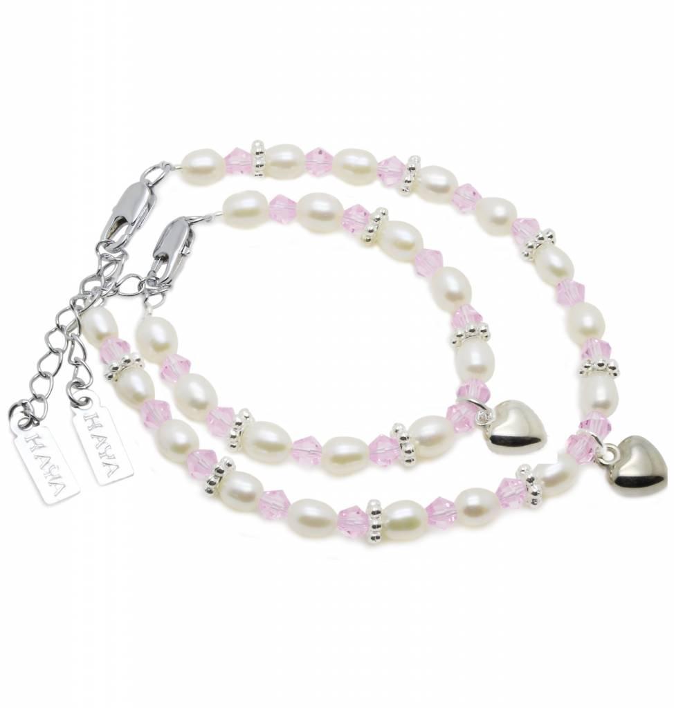 KAYA jewellery Beautiful Mum & Me Bracelet 'Infinity Pink' with Heart Charm