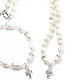 Infinity Communion Jewellery Set 'Infinity White' with Cross