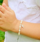 KAYA jewellery Pearl Necklace & Bracelet 'Infinity White' with Cross Charm for Holy Communion