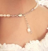 Infinity Pearl Necklace & Bracelet 'Infinity White' with Cross Charm for Holy Communion